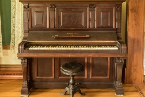 Sohmer Cabinet Grand Upright Piano, 1894. Purchased by Eveline Schumacher  for her daughter, Marcella in 1920. Photo by Rona Neri.